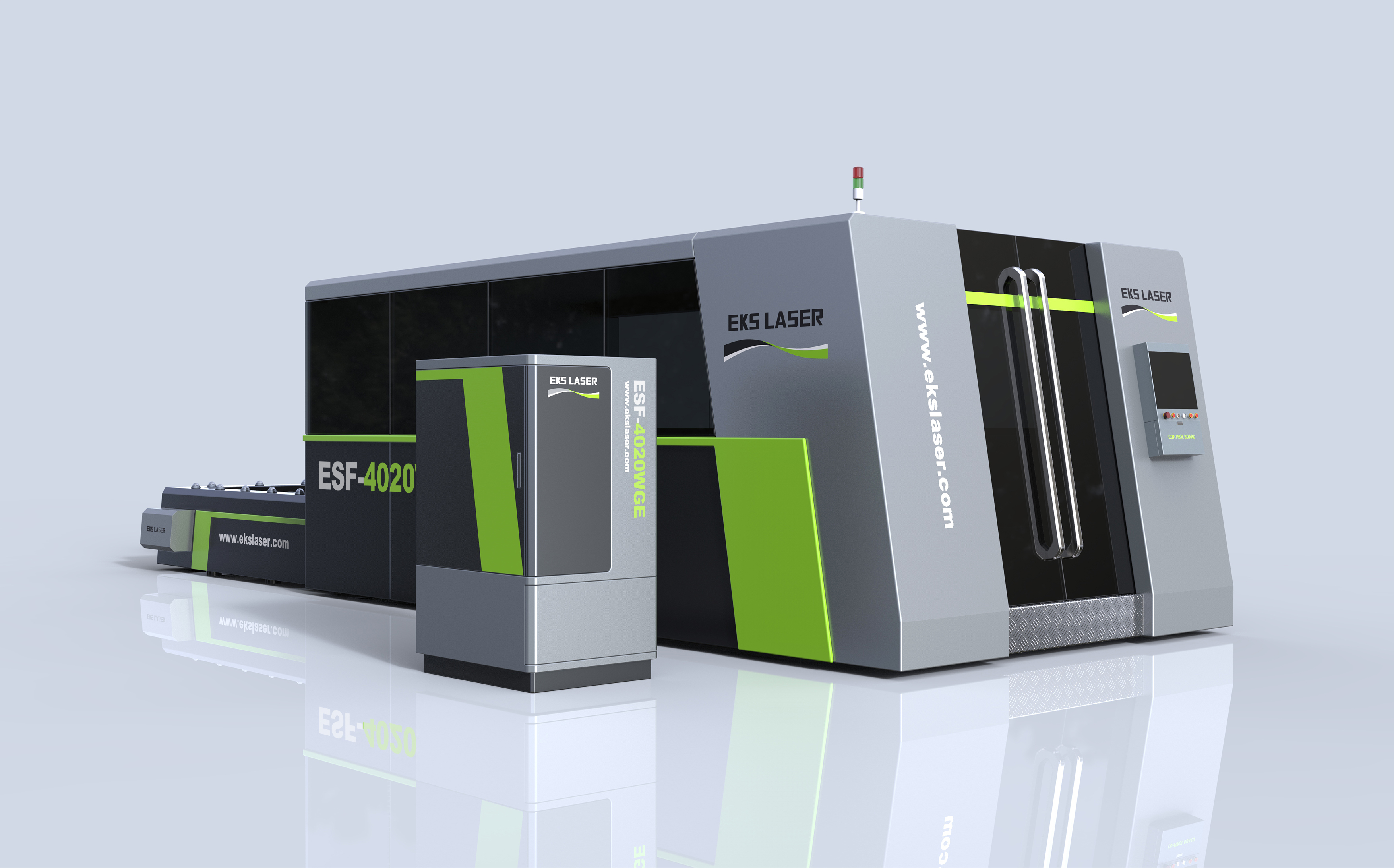 High efficiency fully enclosed dual platform CNC laser cutting machine